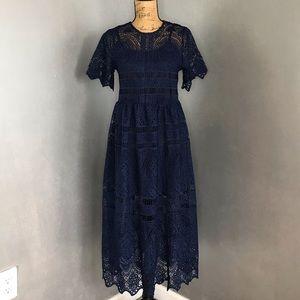 NWT Chicwish Navy Crochet Dress w/ Slip Dress- Med